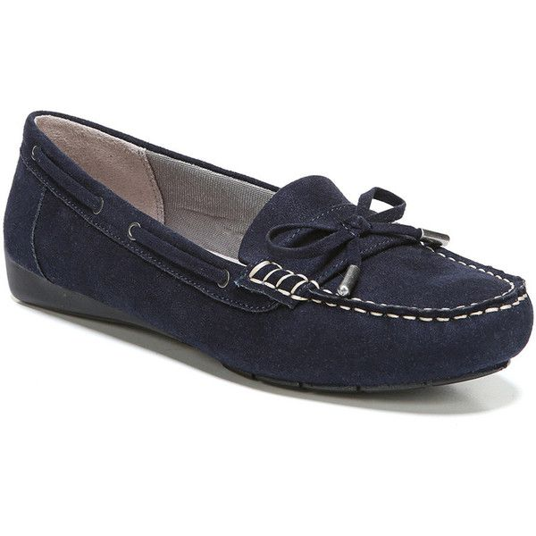LifeStride Valor Women's Moccasins ($50) ❤ liked on Polyvore featuring shoes, loafers, dark blue, synthetic shoes, moccasin style shoes, wide fit shoes, lifestride shoes and wide moccasins