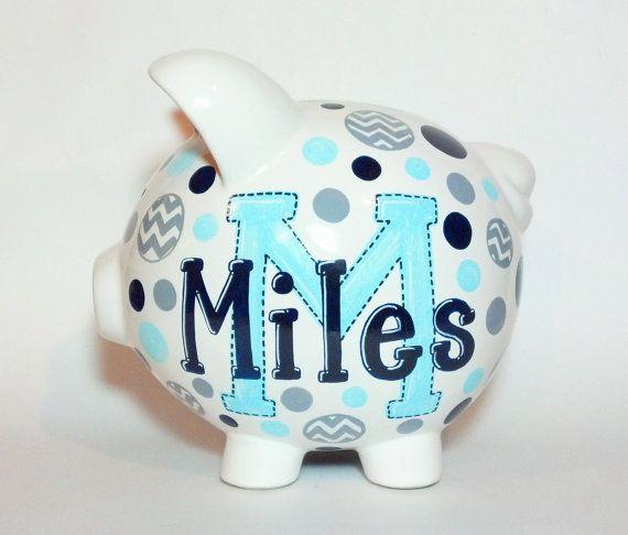 "Chevron Monogramed Personalized Piggy Bank - Navy Blue - Grey - Baby Blue - Custom Hand-Painted Ceramic - Large Size: 8"" x 7.5"" x 7"" on Etsy, $30.00"