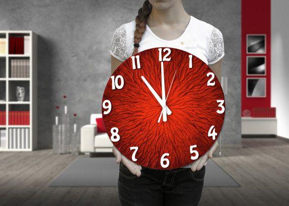 Large WALL CLOCK, Unique clock, Modern wall clock, red clock