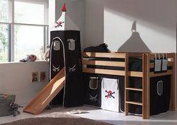 lit sur lev enfant avec toboggan habillage pirate avec sommier inclus coloris noir blanc. Black Bedroom Furniture Sets. Home Design Ideas