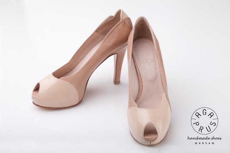 powder Forget-me-nots. Peep toe on hidden platform by Aga Prus
