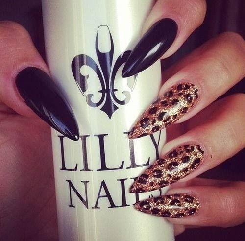 sharp gold leopard & black nails | Stiletto nails ...