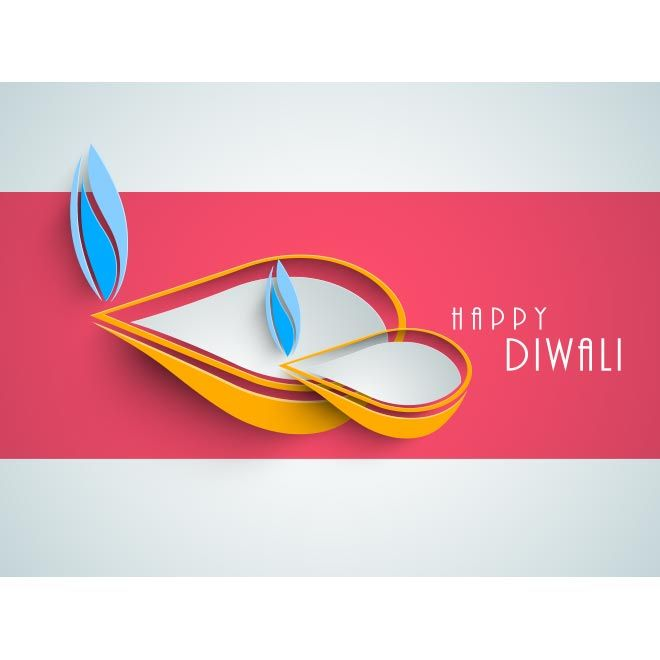 Free vector happy Diwali diya logo with typography text on pink and gray greeting card, flayer, poster title page design illustration