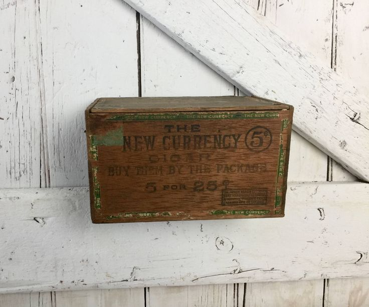 Antique wooden cigar box The New Currency  primitive rustic cigar box vintage by LititzCarriageHouse on Etsy