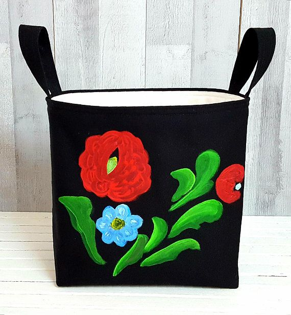 RETRO FLORAL HAMPER Laundry Bag Black White Colorful Painted Storage Organizer Country Style Bath Beauty Handmade Fabric Birthday Gift