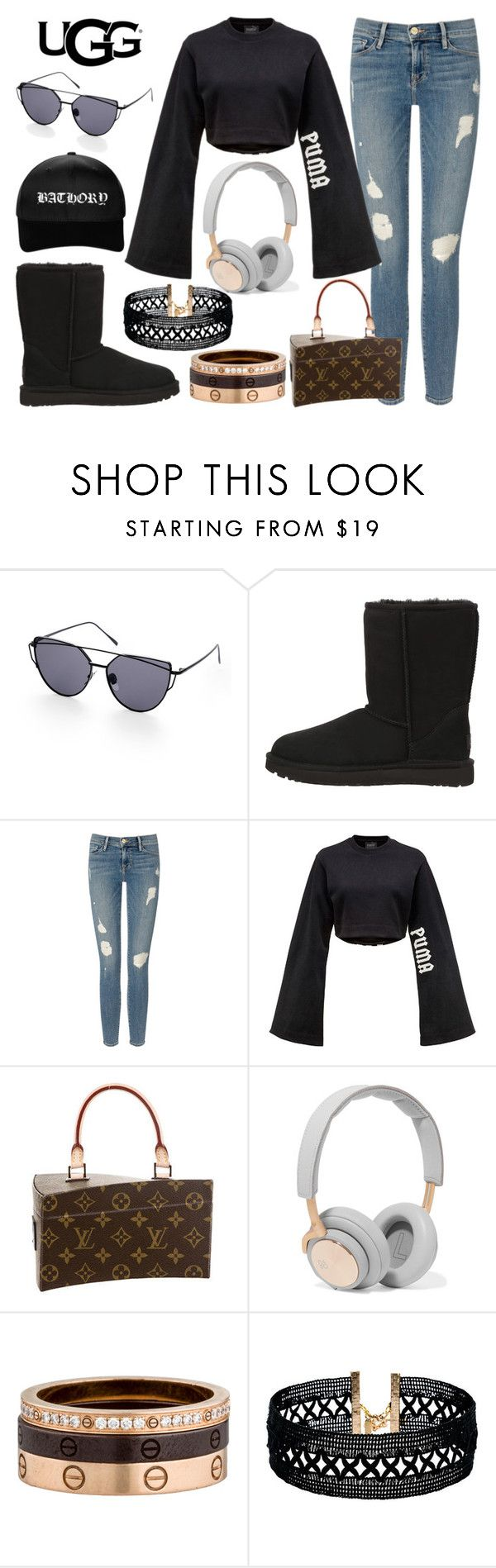"""The Icon Perfected: UGG Classic II Contest Entry"" by mary-zacharia ❤ liked on Polyvore featuring UGG Australia, Frame Denim, Puma, Louis Vuitton, B&O Play, Cartier, Vanessa Mooney, ugg and contestentry"