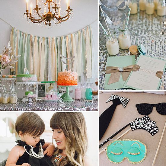 A Chic, Tiffanys-Inspired Birthday Party: Weve seen plenty of adorable little girls birthday parties in our day, but this Breakfast at Tiffanys-inspired party for 1-year-old Riley manages to be both girlie and chic, much like style icon Audrey Hepburn herself.