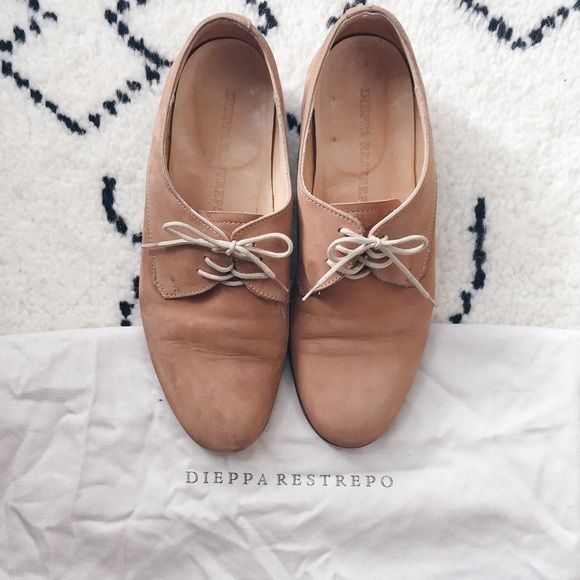 Dieppa Restrepo Sand Nubuck Cali Classic nubuck oxford. Round toe. Leather sole and insole. Low stacked heel with black rubber plate.   Dieppa Restrepo's shoes are handmade and may include minor imperfections. This is natural to each pair's unique character. Condition: worn, recently had the shoe re-soled. Dieppa restrepo Shoes Flats & Loafers