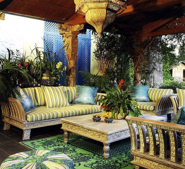 Intricately Carved Decor And Brilliant Lighting Shape This Stunning Moroccan Patio Exotic Moroccan Patios Add Color