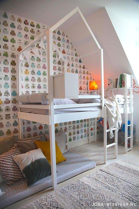Jongenskamer Robot Boysroom boucherouite, Ditte, huisje, hoogslaper. Ontwerp en styling jonginterieur.nl