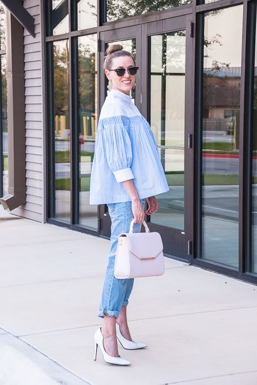 Dress up jeans with a designer bag and high heels