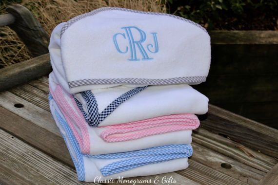 Monogrammed Hooded Towel | Grey Gingham Hooded Bath Towel | Monogrammed Towel | Baby Boy Gift | Baby Shower Gift | Personalized Gift | Preppy Baby | Neutral Bath Towel