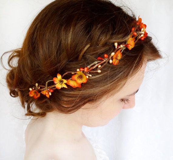 fall hair accessories, bridal hair circlet, autumn flower, burnt orange wedding - FOLKLORIC - halloween headpiece, flower girl head wreath