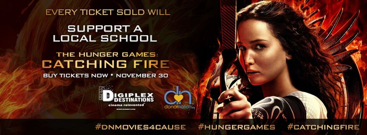 Discount movie tickets for #HungerGames #CatchingFire #SanDiego #MissionValley Available only at www.donornation.org   Every ticket sold will support a local San Diego school!