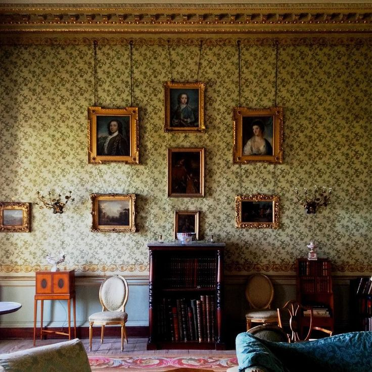 The drawing room in Killadoon County Kildare a house believed to date from the late 1760s when designed by the amateur architect Nathaniel Clements for his eldest son Robert future first Earl of Leitrim. The green and gold wallpaper has been hanging here since the 1830s. #Ireland #Killadoon #Kildare #IrishCountryHouse #DrawingRoom #Georgian theirishaesthete.com