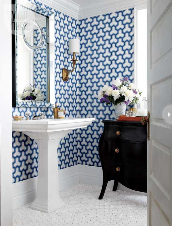 Beautiful Blue And White Wallpaper. Perfect For A Small Powder Room! More  Inspiring Pins