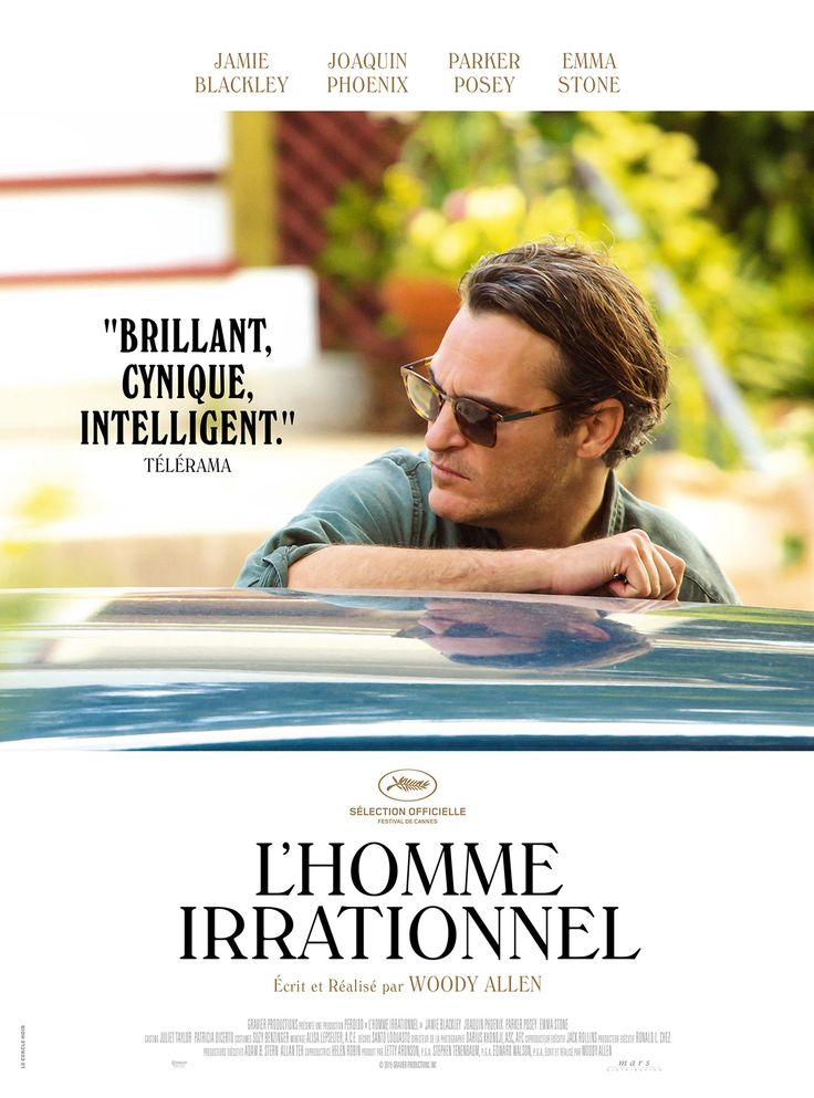 L'Homme irrationnel est un film de Woody Allen avec Joaquin Phoenix, Emma Stone. Synopsis : Professeur de philosophie, Abe Lucas est un homme dévasté sur le plan affectif, qui a perdu toute joie de vivre. Il a le sentiment que quoi qu'il ait