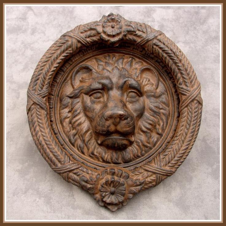 Large majestic lion head cast iron door knocker w ornate wreath knocker iron doors door - Large lion head door knocker ...