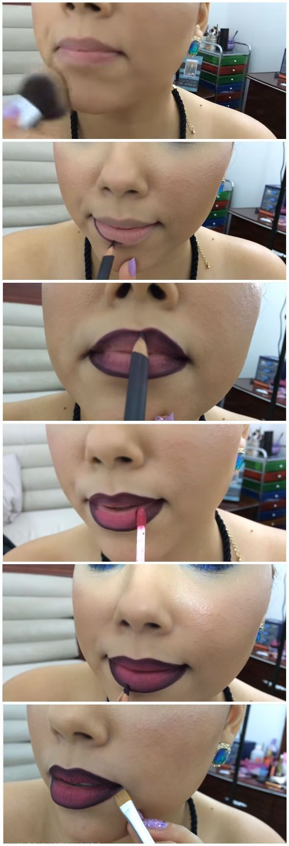 How To Do Ombre Lip |  How To Apply Lipstick And DIY Lipstick Tricks by Makeup Tutorials http://makeuptutorials.com/how-to-do-ombre-lip/