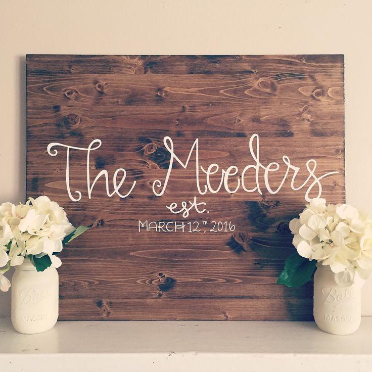 last name wood sign, established wedding date, wedding sign, home decor