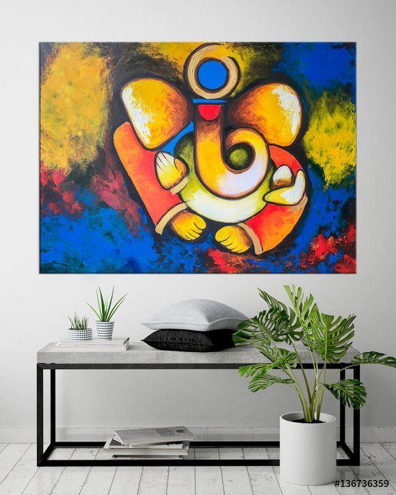 Ganesha Wall Art Indian Decor Modern Indian Art Abstract Etsy Ganesha Painting Painting Indian Art Paintings
