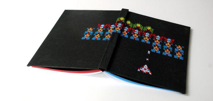 Notebooks & Notepads – space invaders galaga nintendo, embroidered, A5 – a unique product by Kajet on DaWanda