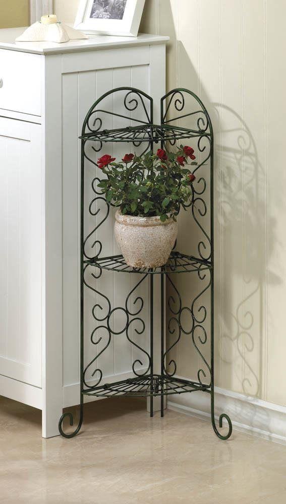 3 Tier Corner Plant Stand. Decorative Indoor/outdoor 3 Tier, Antiqued Metal,