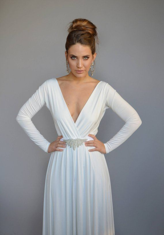 Simple wedding dress with sleeves, casual wedding dress, V neck wedding dress, open back wedding dress, jewelry belt, bohemian wedding dress