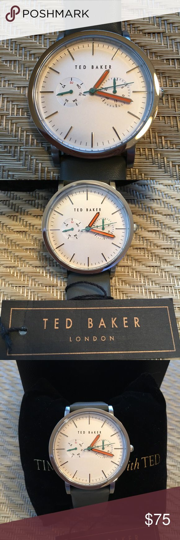 "NWT Ted Baker London unisex watch w/ leather band NWT beautiful unisex watch from Ted Baker London has a gorgeous greenish-grey genuine leather band and orange hands with green sweep hand. Stainless steel case. 30M water resistant. Protective plastic on back of case. Never worn, just needs a battery. Band measures 3/4"" wide, face measures 1-1/2"" wide. In original box snuggled around Ted Baker pillow. Ted Baker Accessories Watches"