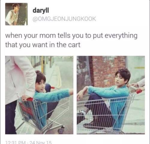 Mom:but everything you want in the cart.  Me:Where can I find Jimin, Suga, Jungkook, Jhope, Jin, Namjoon, and Teahyung?  Mom: (sighs) where did I go to wrong with her