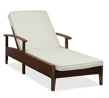 Palmetto Single Chaise Cushion Slipcover, Outdoor Canvas, Natural