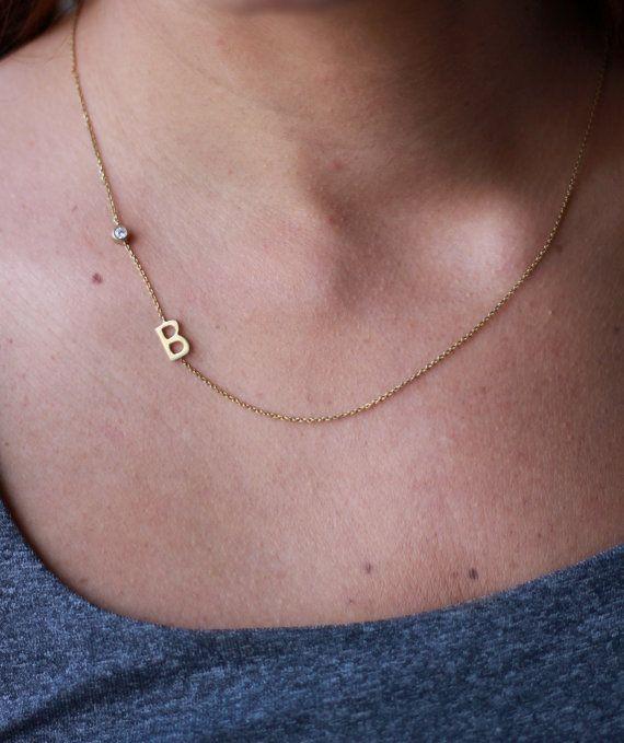Birthstone Initial Necklace  Sideways Initial by deiajewelry