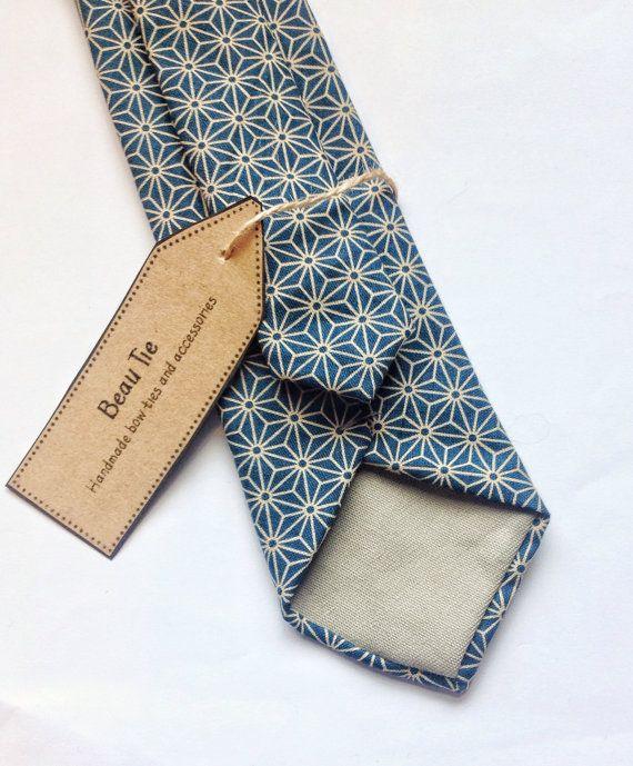 Mens skinny tie geometric print turquoise skinny by BeauBowTies