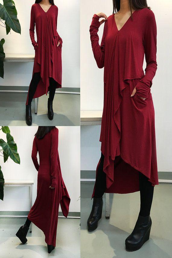 Music Flows - Burgundy Extravegant dress / Thumb Hole maxi Blouse / Long Sleeve dress Asymmetric Kaftan / Asymmetric Maxi dress (Q1712)