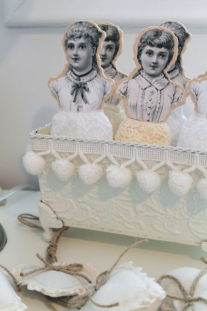 Brag Monday - Lace Ladies for storing lace/ribbon - The Graphics Fairy