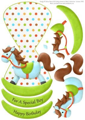 Baby Blue Rocking Horse - Wobble Card
