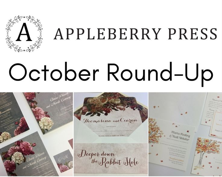 Wedding invitation round-up from October by Appleberry Press