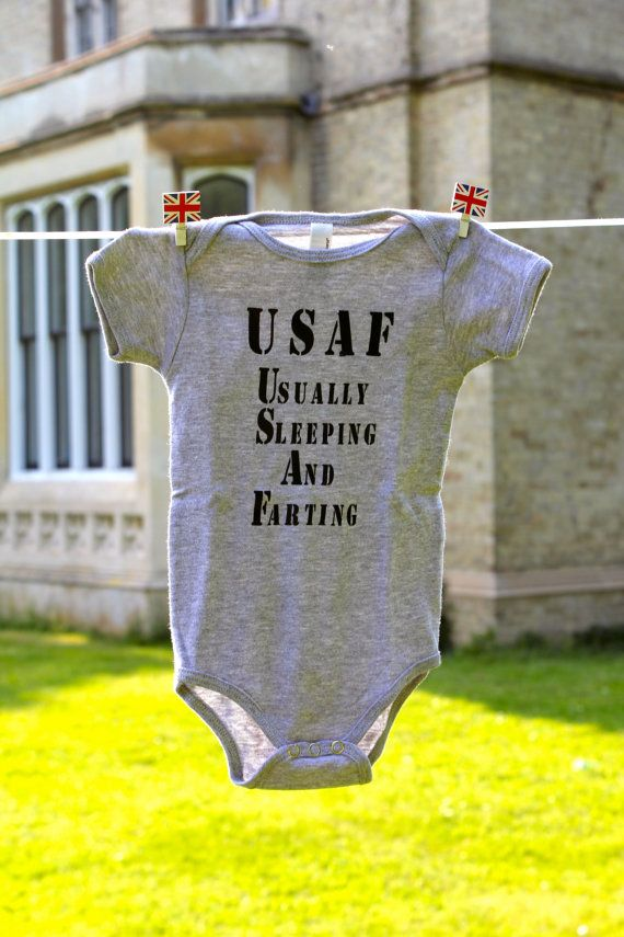 Cute United States Air Force Baby Onesie  - Usually Sleeping And Farting. $17.00, via Etsy.