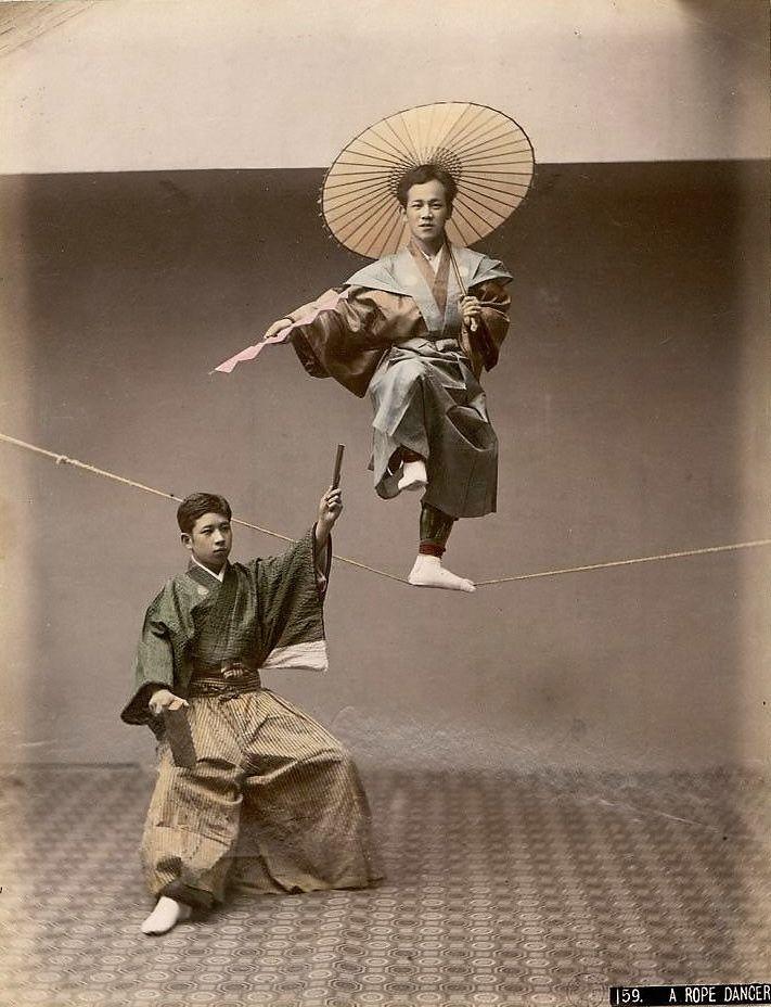 Acrobats. Old Japan. 大豆生田
