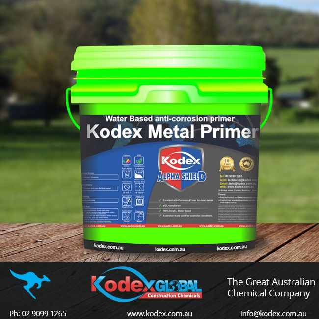 Protect your metal from corrosion with Kodex Metal Primer, which is 100 % acrylic, water based. This product has some added features like fast cure, Low odor, contains zinc phosphates pigments that will inhibit rust and corrosion. It is easy to clean up and can be used on areas like, steel, wrought iron, Zinaclume, Galvanised iron, Aluminium, Copper. Click here to find more http://www.kodex.com.au/wp-content/uploads/2015/02/Kodex-Metal-Primer.pdf