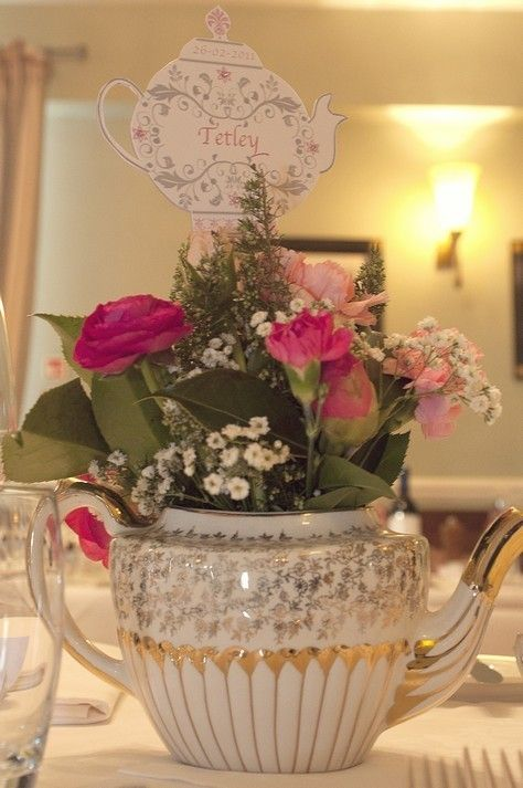 vintage tea party wedding table numbers.  Use tea names instead of numbers.