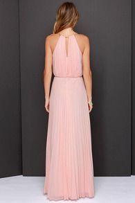Pink Sleeveless Halter Pleated Maxi Dress - Sheinside.com