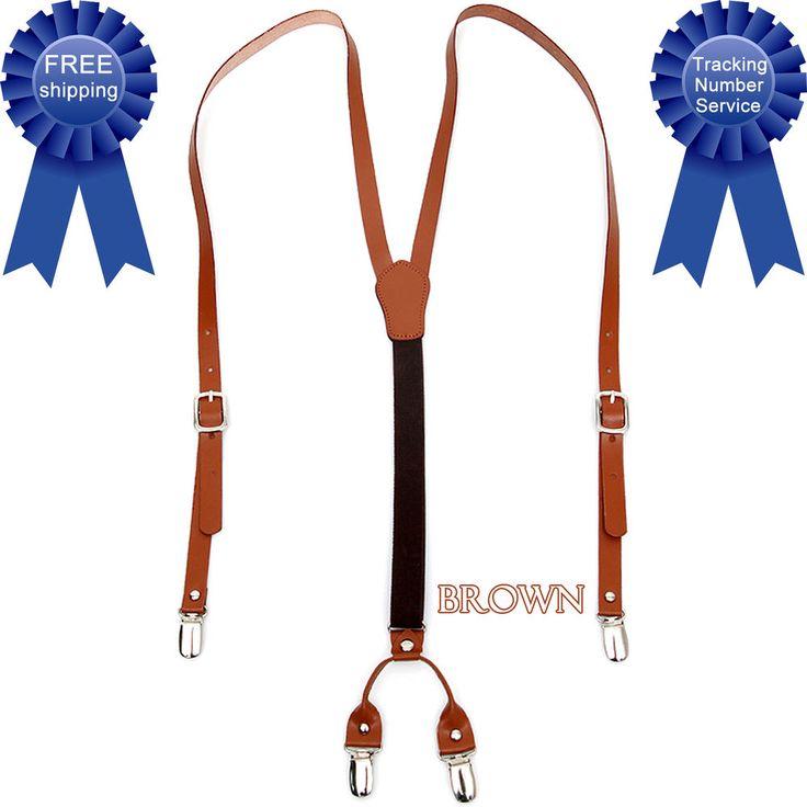 Men Women Genuine Leather Elastic Suspenders Y-Back Adjustable Clip Braces Brown #springsummerfallwinter
