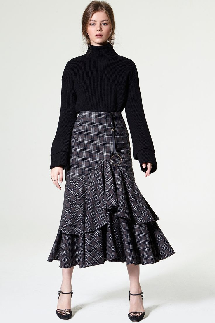 Devon Ring Belt Check Ruffle Skirt Discover the latest fashion trends online at storets.com #woolen coat  #Bomber Jacket  #woolen coat