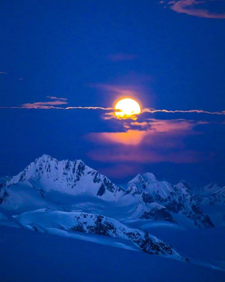 Tsiriku Peak and Mt. Harris under a full moon near Haines, Alaska Photo by: Alan Gordon (@alangordonak on IG)