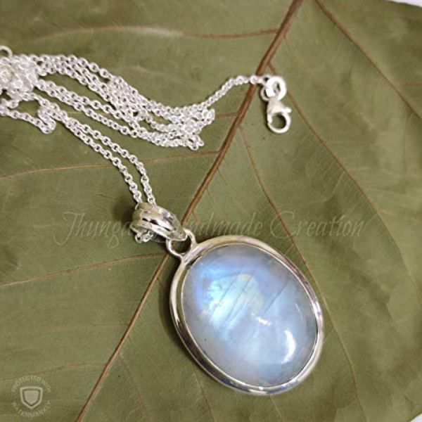 925 Sterling Silver Necklace Pendant Dainty Rainbow Moonstone Necklace Handmade Moonstone Gemstone Necklace Pagan Moonstone Jewelry Gift for Women Blue Moonstone Healing Crystal Pendant