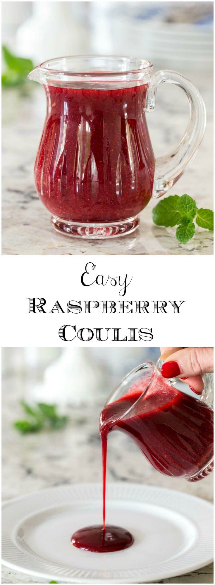 Just a fancy name for a delicious, super versatile raspberry sauce, this Easy Raspberry Coulis pairs fabulously with chocolate and a zillion other desserts! via @cafesucrefarine