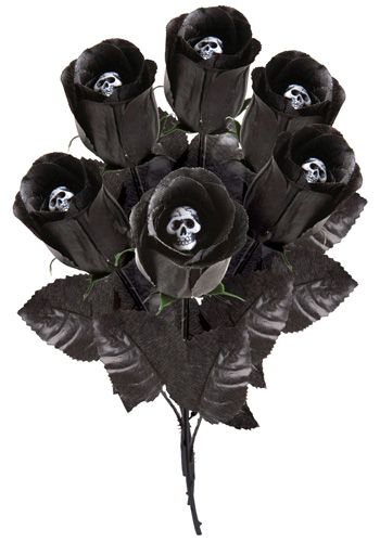 I'd love having just one of these gothic black skull roses tucked into the bouquet.