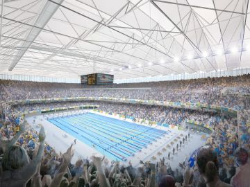 Swimming Water Polo, Swimming  The Olympic Aquatics Stadium will be constructed at the Rio Olympic Park Precinct with 18,000 temporary seats within a permanent structure. In the heart of Rio Olympic Park, the venue will be ten minutes from the Olympic and Paralympic Village and within walking distance of IBC/MPC.