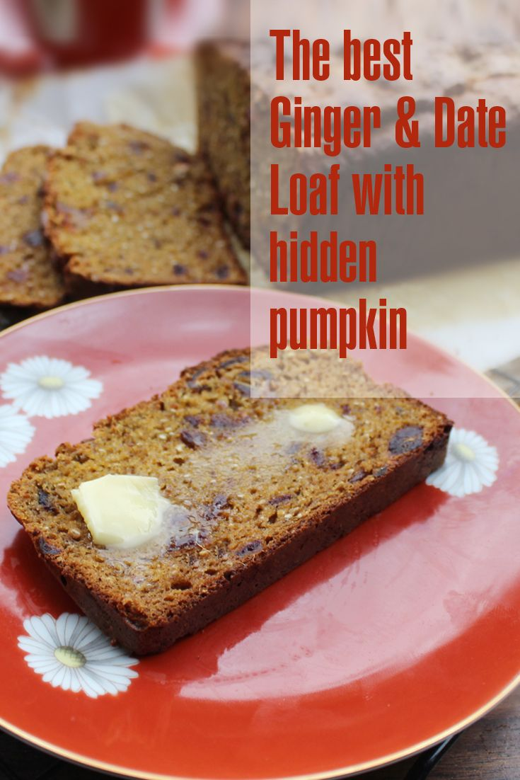 The best high fibre, ginger date loaf with hidden pumpkin.